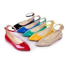 New Faux Patent Leather Pointy Toe Ankle Buckle Women Flats Shoes Pumps Size 094