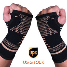 Copper Elastic Wrist Support Hand Palm Brace Compression Glove Sleeve Arthritis