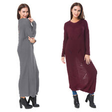 Tops Oversize Baggy Knit Jumper Dress Sweater Round Neck Womens