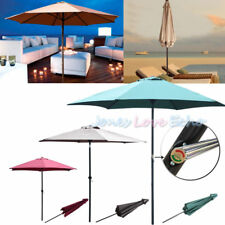 9FT Outdoor Beach Tilt SunShade Cover Patio Umbrella Market Cafe Crank Tilt New