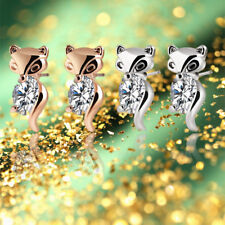 Alloy Animal Crystal Earring Fox Stud Earrings Plated Silver Gold Classic