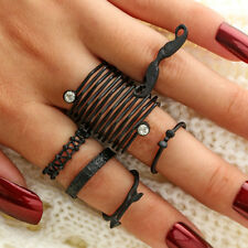 BL_ 6Pcs Mustache Bow Arrow Stacking Knuckle Rings Women Finger Ring Set Gift Be