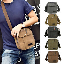 Leather Satchel School Military Shoulder Messenger Bag Men Vintage Canvas C0116