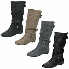 Ladies Spot On Mid Calf Pull On Fastening Buckle Detail Low Heel Boots - F5R0067