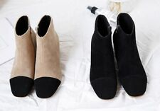 Colourblock Beige and Black Faux Leather Suede Ankle Boots Shoes