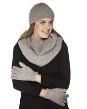 Ladies Chunky Knitted Fashion Winter Set Pom Pom Beanie Hat, Gloves & Snood