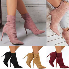 Women High Stiletto Heels Knight Ankle Boots Ladies Zip Up Party Club Shoes Size