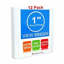 1 inch White Binders with Front View Pocket 12 Pack