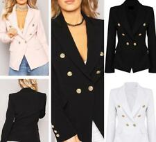 UK Womens Double Breasted Gold Button Front Military Style Coat Jacket Outerwear