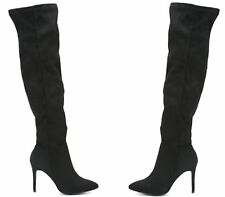 WOMENS BLACK FAUX SUEDE OVER THE KNEE STILETTO HIGH HEEL BOOTS SHOES SIZE