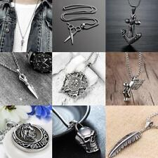 Men's Cool Stainless Steel Skull Lion Wing Pendant Necklace Chain Jewelry Gifts