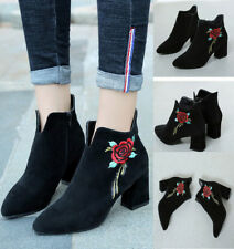 Women's Rose Embroidery Boots Ankle High Heels Side Zipper Up Casual Shoes Size