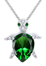 Created Emerald Turtle Pendant Necklace 14k White Gold Over Sterling Silver