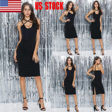 Women Sleeveless Fit Back Slit Backless Cocktail Club Party Midi Pencil Dress US