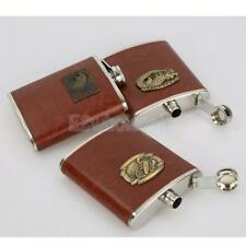 Hip Flask for Liquor 8oz Brown Leather Cover for Whiskey, Rum & Vodka Pick