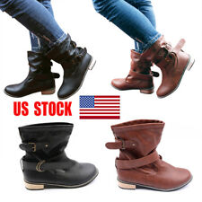 US Womens Low Block Heels Knight Mid-Calf Boots Pull On Buckle Strap Shoes Size