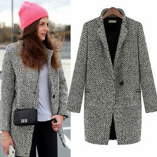 Trench Jacket Womens Lapel Wool Cashmere Coat Long Overcoat