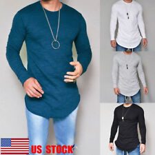 US Men Crew Neck Long Sleeve Solid Slim Fit Casual Tops T-Shirts Basic Tee S-2XL