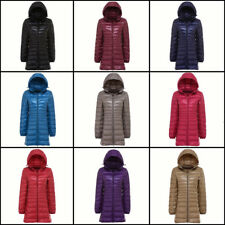 US Packable Women's Duck Down Coat Ultralight Hoodie Long Hooded Jacket Puffer