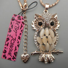 Betsey Johnson Gold Plated Crystal Opal & Enamel Owl Necklace