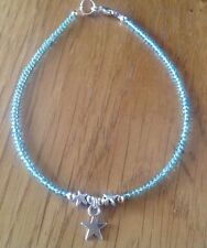Star Bead   Star Charm Turquoise Glass Seed Bead Anklet/Ankle Bracelet
