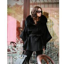 Women's Luxury Double Breasted Batwing Cape Poncho Coat Jacket Fur HE8Y