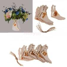 10pcs Bride & Groom Wooden Table Number Tags with Rope Wedding Table Decoration