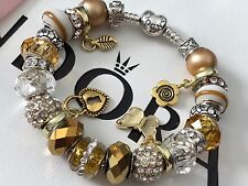Authentic PANDORA S925 ALE Heart Clasp Silver Bracelet + Gold Plated Beads