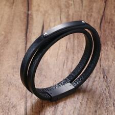 Mens Genuine Leather Double Wrap Around Bracelets Stainless Steel Bangle Man