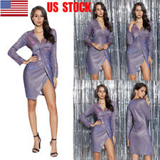 Womens Sequins Front Knot Deep V High Split Cocktail Evening Party Mini Dress US
