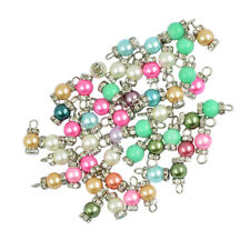 50pcs Gold Tone Alloy Chic Faux Pearl Pendants Charms DIY Crafts Jewelry