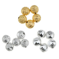 50Pcs 8mm Silver Gold Tone Charms Loose Ball Copper Spacer Beads Finding DIY