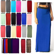 New Long Ladies Womens Jersey Maxi Skirt Gypsy Summer Bodycon Dress Plus Size