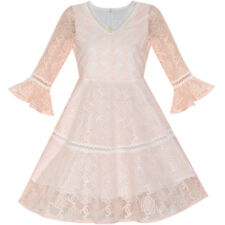 Sunny Fashion Flower Girl Dress Lace Blush Pink Bell Sleeve Party Size 6-14