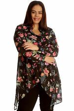 New Womens Plus Size Shirt Ladies A Line Floral Print Collared Blouse Top Button