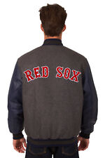 MLB BOSTON RED SOX JH DESIGN REVERSIBLE LEATHER WOOL POLY TWILL JACKET 203 REV7
