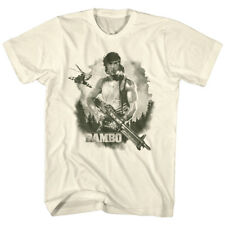 Official T Shirt MEN JOHN RAMBO MOVIE Water Color Natural Cotton Sizes SM - 5XL