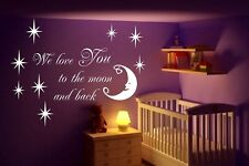 We Love You To The Moon... And Back Bedroom Nursery Wall Sticker Vinyl Transfer