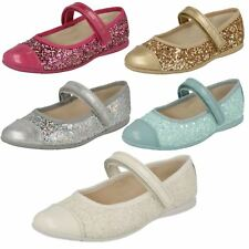 Infant Girls Clarks Hook & Loop Mary Jane Style Glitter Party Shoes Dance Idol