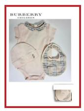 BURBERRY INFANT 3 PC SHORT SLEEVE BODYSUIT HAT & BIB SET SIZE 6 OR 9 MONTHS NIB