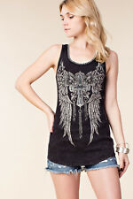 Vocal Crystals Pearls Cross Wings Tank Black Ribbed Stretchy Top Shirt  S M
