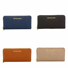 NWT MICHAEL Michael Kors Travel Zip Around Continental Wallet Saffiano Leather
