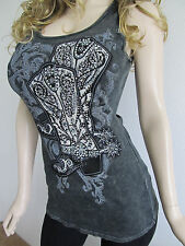 SeXy VoCal Western Cowgirl Boots Crystals Stones Spurs Rib Tank Top Shirt  S M