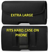 FOR EXTRA LARGE CELL PHONES LEATHER BELT CLIP BELT LOOP HOLSTER  POUCH CASE