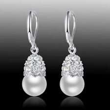 New Wedding Party Jewelry Gift White Pearl 925 Sterling Silver Gemstone Earrings