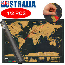 1x / 2x Scratch Off World Map Large Where You Travel Poster Layer Atlas Decor