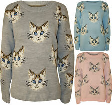 Ladies Women's Adorable Cat Face Print Long Sleeve Knitted Jumper Sweatshirt Top