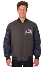 NHL COLORADO AVALANCHE JH DESIGN REVERSIBLE LEATHER WOOL TWILL JACKET 203 REF7