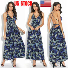 US Womens Floral Backless Lace Up Maxi Long Dress Deep V Cocktail Gown Sundress