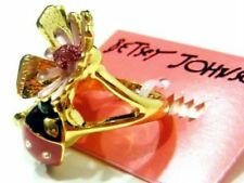 Betsey Johnson Ring Flower Pearl Lady bug Gold
